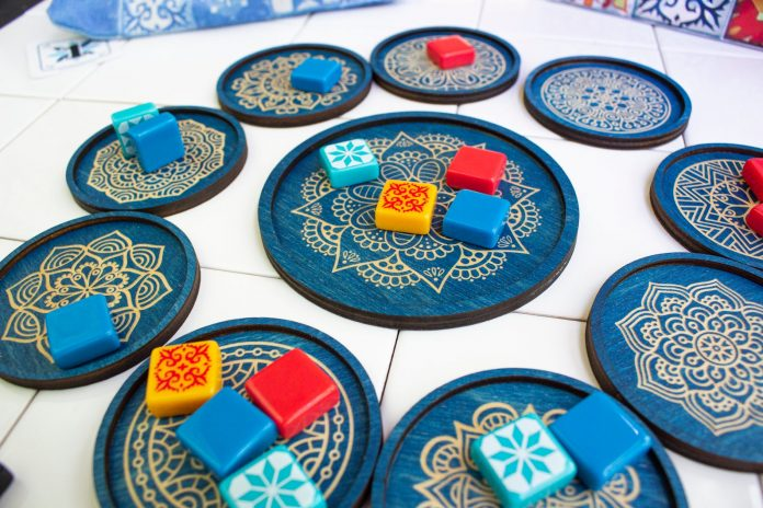 Blue gameplay accessories for the board game Azul